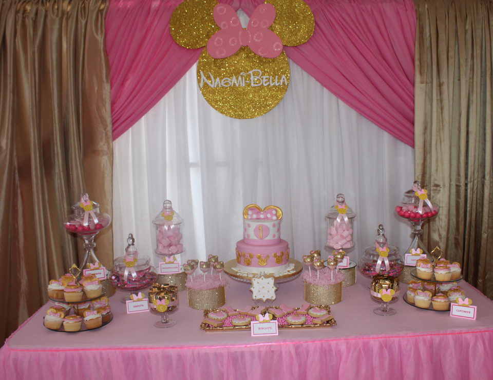 Gold and Pink Minnie Mouse Party  - Minnie Mouse