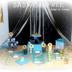 Baby shower Boy - blue, grey and white