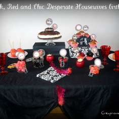Black ,red and chic desperate housewives birthday party - desperate housewives