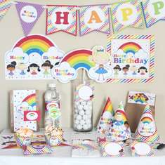 Rainbow Stick Figure Girls Birthday Printable Party Kit - None