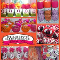 Orange & Pink Hawaiian birthday for a 9 year old. - hawaiian party