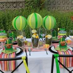 Bright Neon + Festive Summer Stripe Tablescape - Summer Stripe