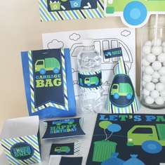 Garbage and Recycle Truck Birthday DIY Printable Party Kit - None