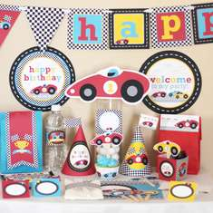 Red Race (Racing) Car Birthday Printable DIY Party Kit - None