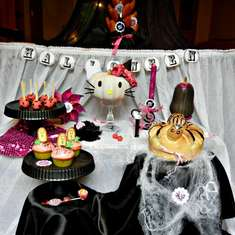 Black and pink halloween party, a little Hello Kitty - black, pink, hello kitty