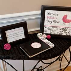 Black and White Toile Baby Shower - Black, White, and Pink