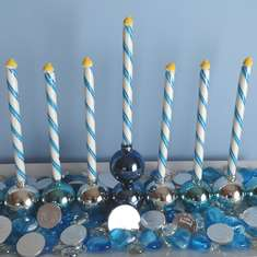 Happy Hanukkah - Blue, Silver and White