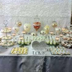 ADAM AND ALANNAHS BLING CANDY AND DESSRT CANDY BUFFET - White,Bling, and a touch of Coral
