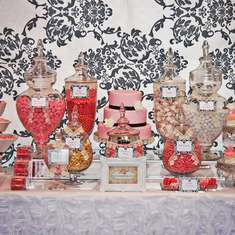 Pink Black & White Bridal Buffet - None