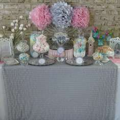 First Holy Communion Candy Buffet ~ girl - Silver, white and pale pink