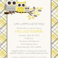 Look Whooo's Expecting!   - Owl Theme (Yellow and Gray)