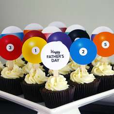 Father's Day Billiard Ball Printable Cupcake Toppers for Dad - None