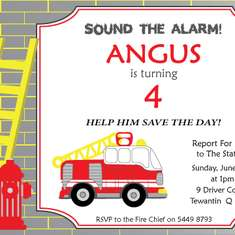 Sound The Alarm!!!  Angus turns 4 - Firetruck, Fire Engine