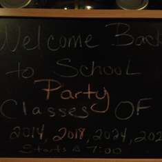 Back to School Dinner for classes of 2014 ,2018, 2024 & 2026 - None