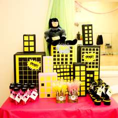 Faith's 5th Batman/Batgirl Party - Super Heroes, Batman, Batgirl, Hot Pink, Yellow, Black