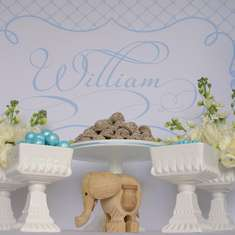 Williams Christening - Baby Blue, White and a contrast of Taupe