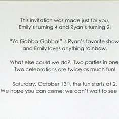 Ryan's 2nd birthday party (combined with Emily's 4th birthday party) - Yo Gabba Gabba