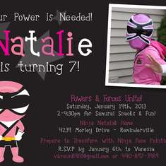 Natalie's 7th Birthday - Pink Power Ranger/Samurai