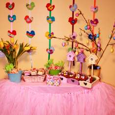 Colorful Easter Dessert table - None