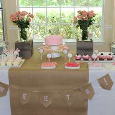 Kelis baby girl shower - burlap, lace and pearls