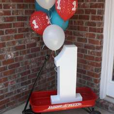 Fulton's 1st Birthday - little red wagon