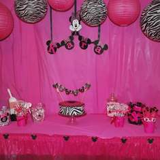 Kara's 5th Birthday - Minnie Mouse Zebra/Hot Pink