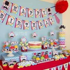 Little Man Mustache Rainbow Birthday Party - Little Man Mustache Bash