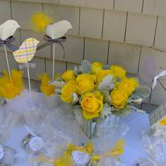 """Not a Peep"" Baby Shower - Yellow and Gray with Birds"
