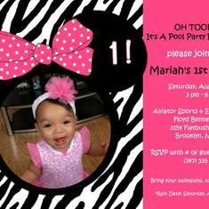 OH TOODLES! Mariah's 1st Birthday Pool Party Bash! - Minnie Mouse Zebra/Hot Pink