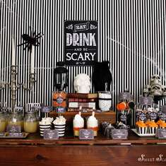 """Eat, Drink & Be Scary"" Chalkboard Halloween - None"
