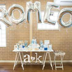 Romeo's Blue Grey & White Christening - Blue and white