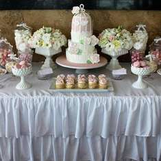 Engagement Dessert Table - pink & white