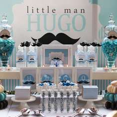 HUGO's mustache full moon celebration - Blue; Silver; White and Mustache