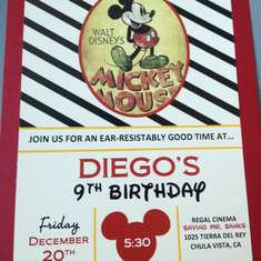 Diego's 10th Birthday - Mickey Mouse Vintage