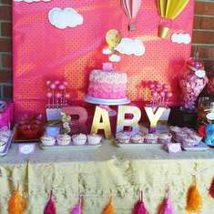 Pink & Gold Hot Air Balloon and Baby Elephant theme - Hot Air Balloon/Sky
