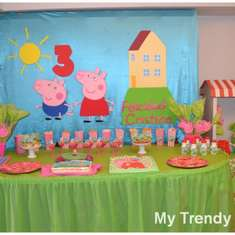 3rth Birthday  - Peppa Pig green and fucsia
