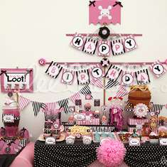 Pirate Girl Pink Black Birthday Party Theme - B10 - Pirates