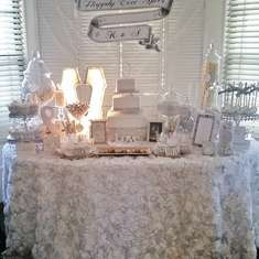 White and Silver Engagement Candy Buffet - Glam