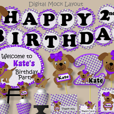Purple and Gray Puppy Birthday Party - Dogs/Puppies Birthday