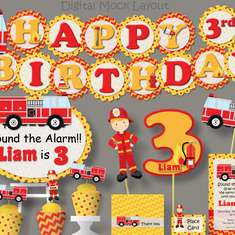 Red & Yellow Firetruck Birthday Party - Fire Truck / Firefighter