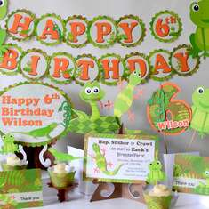 Orange & Green Reptile Birthday Party - Snakes / Reptiles