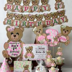 Pink and Green Teddy Bear Birthday Party - Teddy Bear