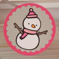 Winter ONEderland - Pink & Grey  Snowman Polka dots