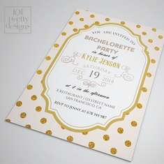 Bachelorette party invitation template printable bachelorette invitation design, gold glitter dots custom bachelorette party template blush - None