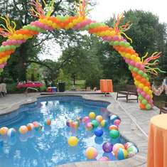 Bright and Colorful Summer Pool Party - summer, pool party, cinco de mayo, pink orange yellow, balloon arch, 5 year olds, beach balls, ice cream truck, sunglasses, flip flops, slip and slide, bounce house