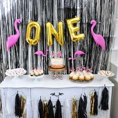 Vera's Black and Gold Flamingo First Birthday Party - Flamingos, black and gold, polkadots and stripes, first birthday