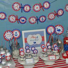 Nautical Baby Shower - Whales and Anchors - Red, White And Blue