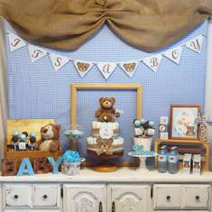 Teddy Bear, Blue & Brown Baby Shower - Teddy Bear