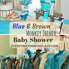 Blue and Brown Monkey Themed Baby Shower - Monkey