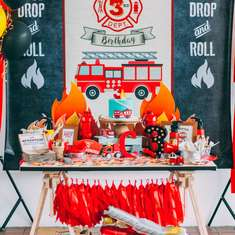 C's rustic firefighter party - Fire Truck / Firefighter